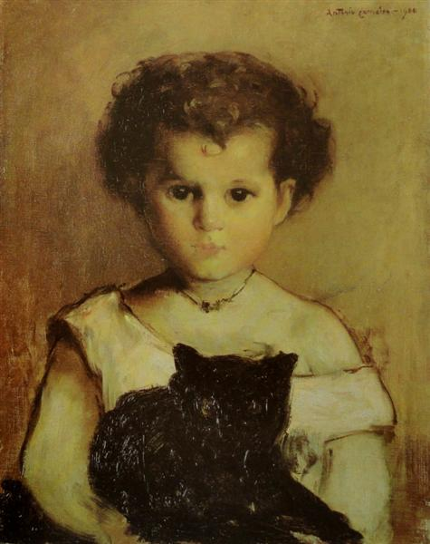 Menina com Gato (Maria), 1900 - Antonio Carneiro