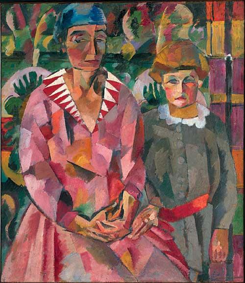 Portrait of Artist's Wife and Daughter, 1915 - Aristarkh Lentulov