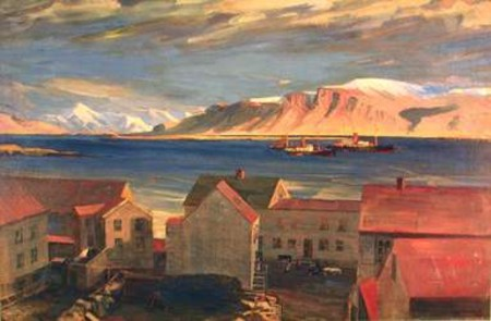 Mt. Esja, seen from the building Vinaminni, 1910 - Asgrimur Jonsson