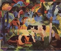 Landscape with Cows and a Camel - August Macke