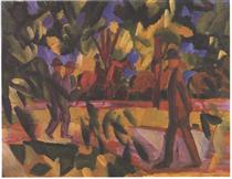 Riders and walkers at a parkway - August Macke
