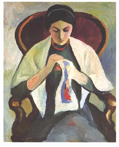 Woman Sewing - August Macke
