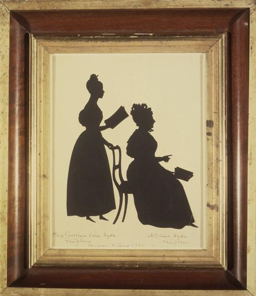 Cut Silhouette of Two Women Facing Right - Auguste Edouart