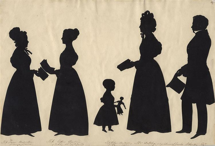 Jane Anderson; Esther Ainslie; Helena Anderson; Mrs Arkley; Charles Atherton - Auguste Edouart