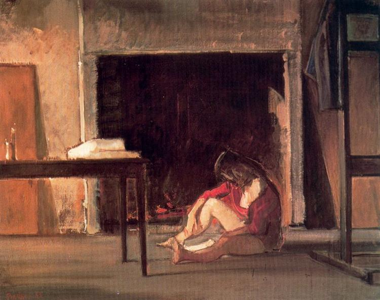 Chassy by the fireplace at workshop, 1955 - Balthus