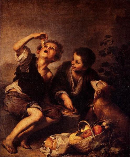 Children Eating a Pie - Murillo Bartolome Esteban