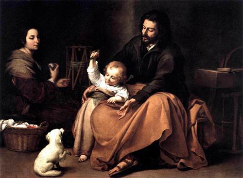 The Holy Family with the Little Bird - Bartolome Esteban Murillo