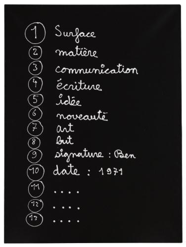 (1) Surface (2) Matière (3) Communication, 1971 - Ben Vautier