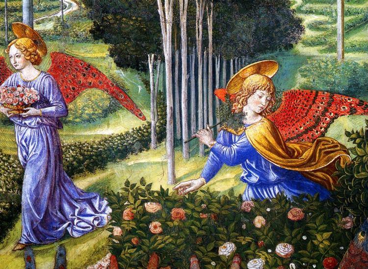 Angel Gathering Flowers in a Heavenly Landscape (detail), c.1460 - Benozzo Gozzoli