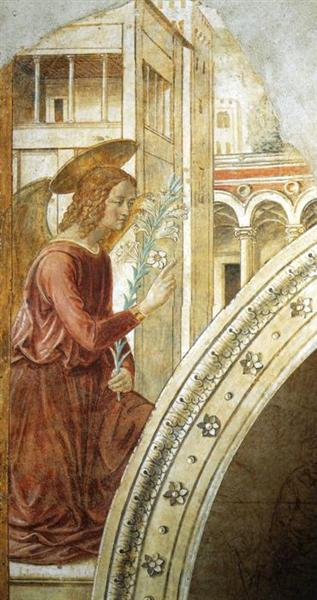 Tabernacle of the Visitation: Annunciation: the Archangel Gabriel, 1491 - Benozzo Gozzoli