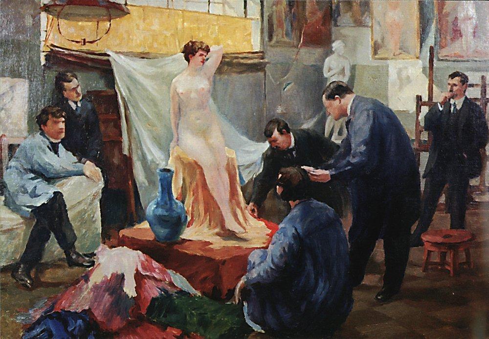 http://uploads5.wikipaintings.org/images/boris-kustodiev/statement-of-the-model-in-the-studio-of-ilya-repin-1899.jpg