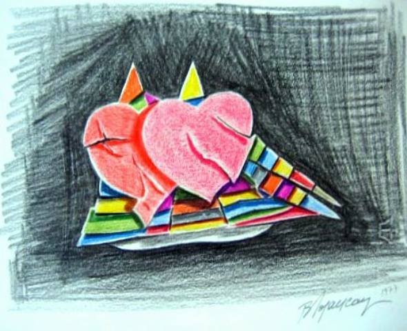 Sailing Hearts, 1977 - Burhan Doğançay