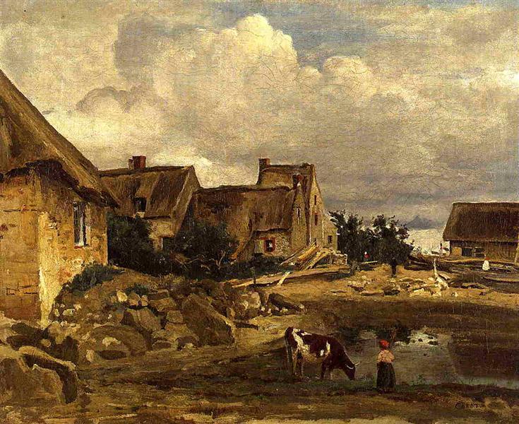 A Farmyard near Fontainebleau, c.1828 - c.1830 - Camille Corot
