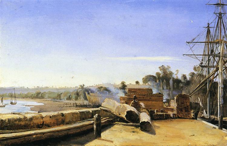 Shipyard in Honfleur - Camille Corot