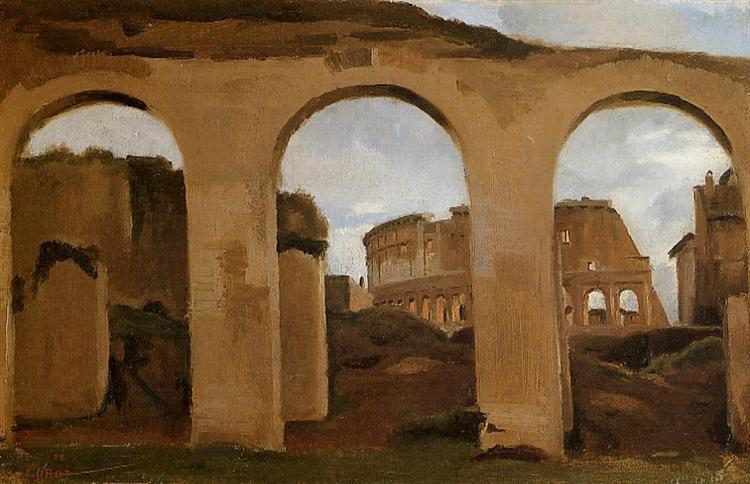The Colosseum, seen through the Arcades of the Basilica of Constantine - Camille Corot