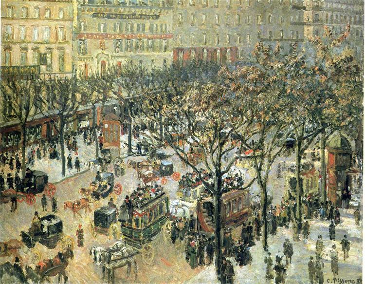 Boulevard des Italiens Matin, Lumière du soleil - Camille Pissarro