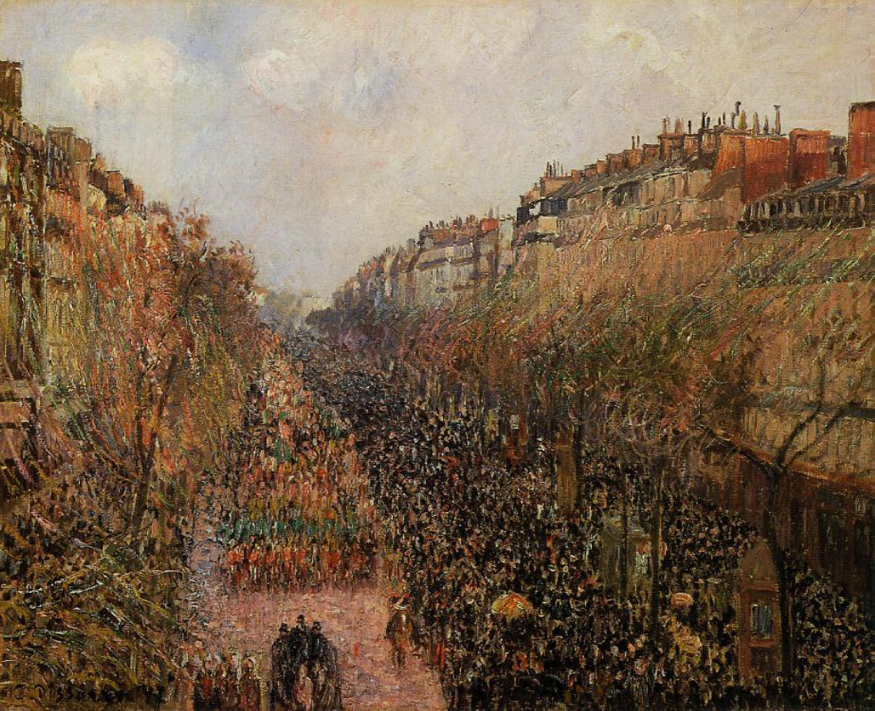 boulevard montmartre mardi gras camille pissarro encyclopedia of visual arts. Black Bedroom Furniture Sets. Home Design Ideas