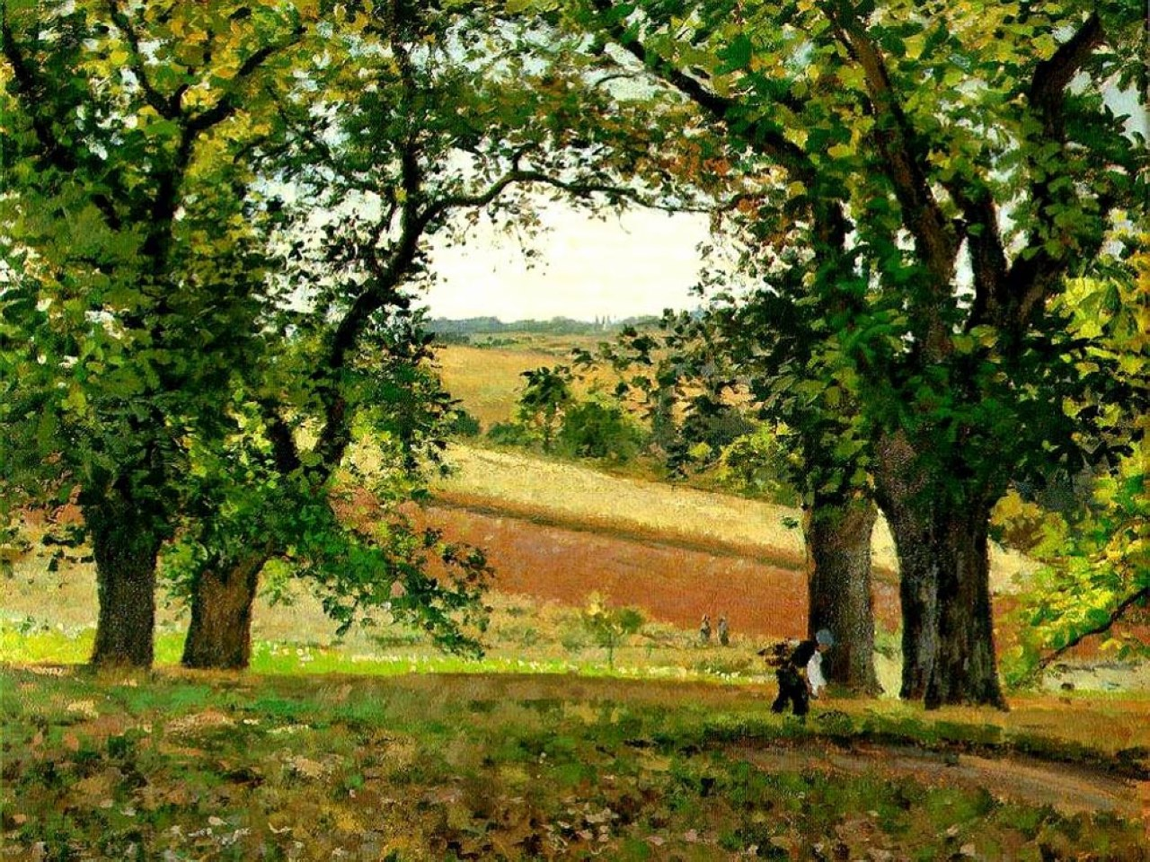 Chestnut Trees at Osny 1873 Camille Pissarro WikiArtorg