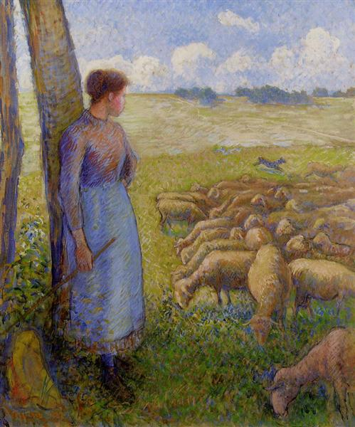 Shepherdess and Sheep, 1887 - Camille Pissarro
