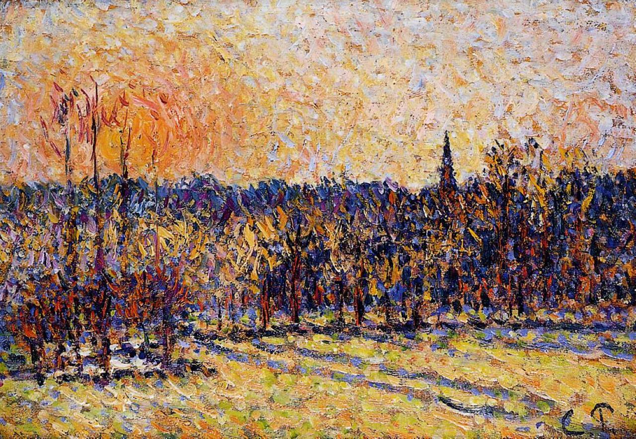 Sunset bazincourt steeple camille pissarro for Camille pissarro oeuvre