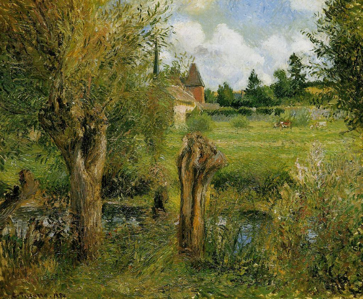 The Banks Of The Epte At Eragny Camille Pissarro Encyclopedia Of Visual Arts