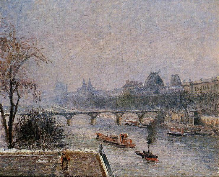 The Louvre, Morning, Snow Effect, 1903 - Camille Pissarro