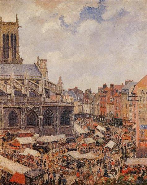The Market Surrounding the Church of Saint-Jacques, Dieppe, 1901 - Camille Pissarro