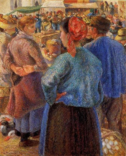 The Poultry Market at Pontoise, 1882 - Camille Pissarro