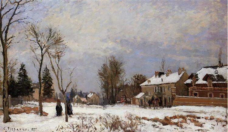 The Road from Versailles to Saint Germain, Louveciennes. Snow Effect, 1872 - Каміль Піссарро