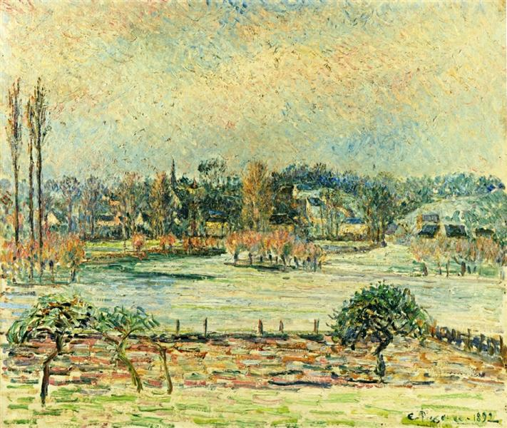 View of Bazincourt, Flood, Morning Effect, 1892 - Camille Pissarro