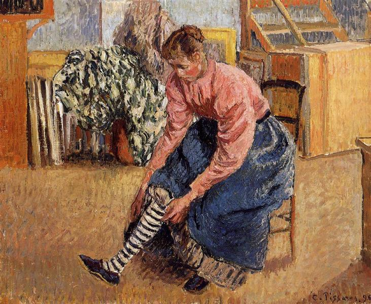 Woman Putting on Her Stockings, 1895 - Camille Pissarro