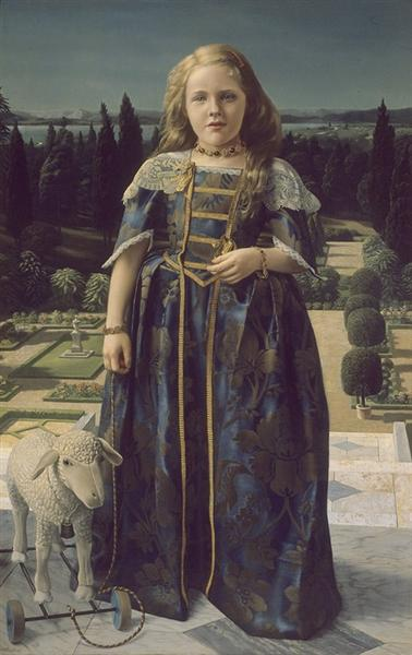 Girl with a Small Sheep (Girl in Renaissance Costume) - Carel Willink