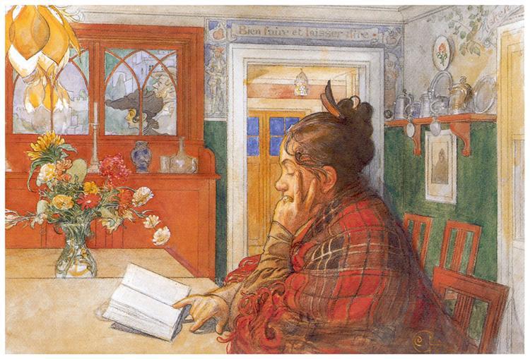 Karin reading, 1904 - Carl Larsson