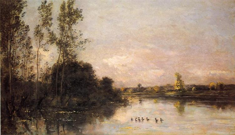Ducklings in a River Landscape, 1874 - Charles-Francois Daubigny
