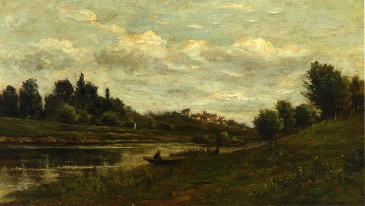Fisherman on the Banks of the River - Charles-Francois Daubigny