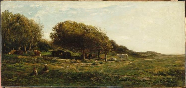 The graves of Villerville nemed also meadow with a view on the sea, 1859 - Charles-Francois Daubigny