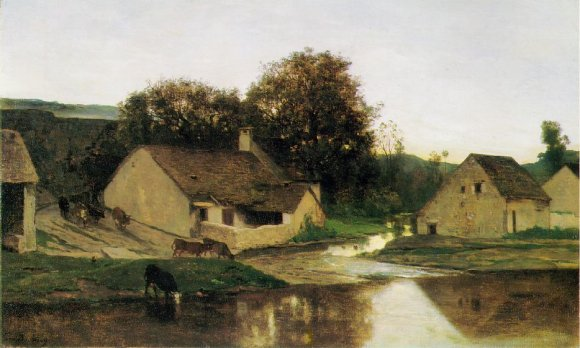 The Hamlet of Optevoz, in the morning, c.1852 - Charles-Francois Daubigny