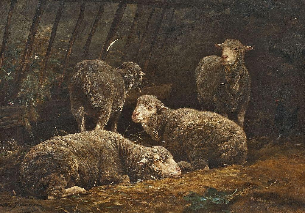 Schafe im Stall, 1894