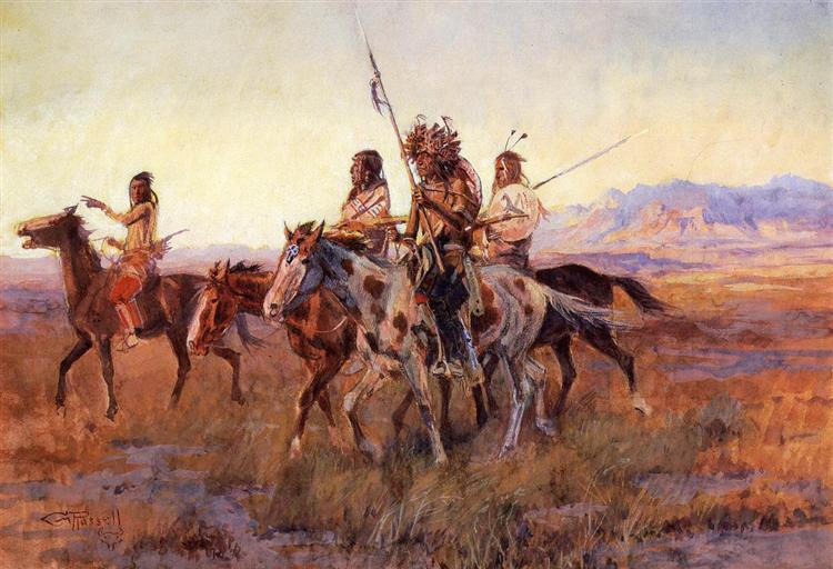Four Mounted Indians, 1914 - Charles M. Russell