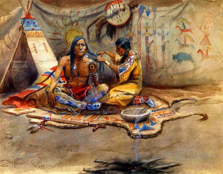 Indian Beauty Parlor, 1899 - Charles M. Russell