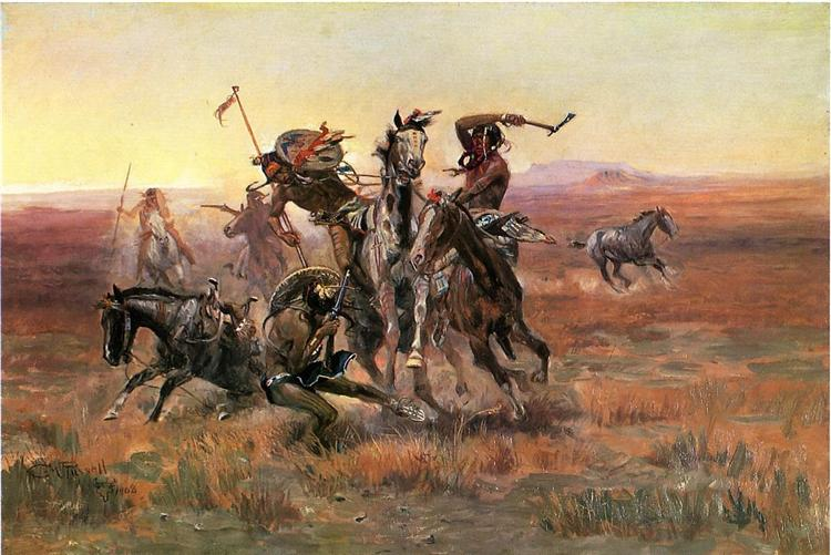 When Blackfeet and Sioux Meet, 1908 - Charles M. Russell