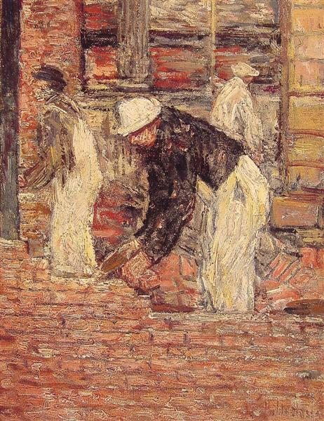 Bricklayers, c.1900 - Childe Hassam