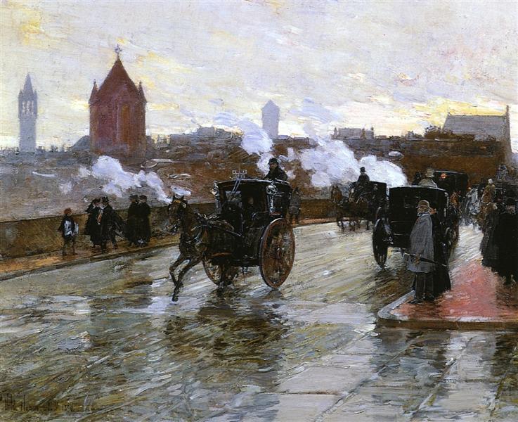 Clearing Sunset (aka Corner of Berkeley Street and Columbus Avenue), 1890 - Childe Hassam