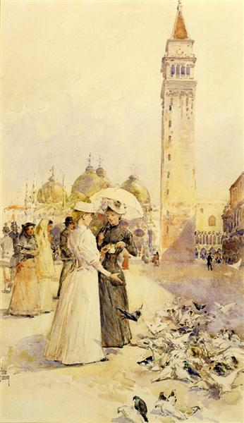 Feeding Pigeons in the Piazza, 1883 - Childe Hassam