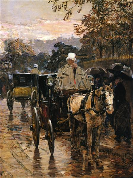 Hackney Carriage, Rue Bonaparte (also known as Fiacre, Rue Bonaparte), 1888 - Childe Hassam
