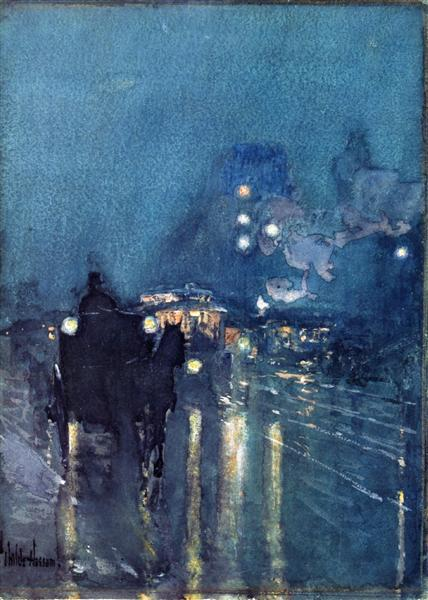 Nocturne, Railway Crossing, Chicago, 1892 - 1893 - Чайльд Гассам