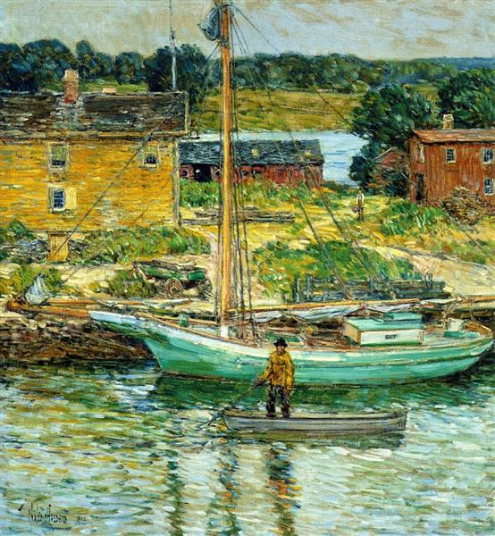 Oyster Sloop, Cos Cob, 1902 - Childe Hassam