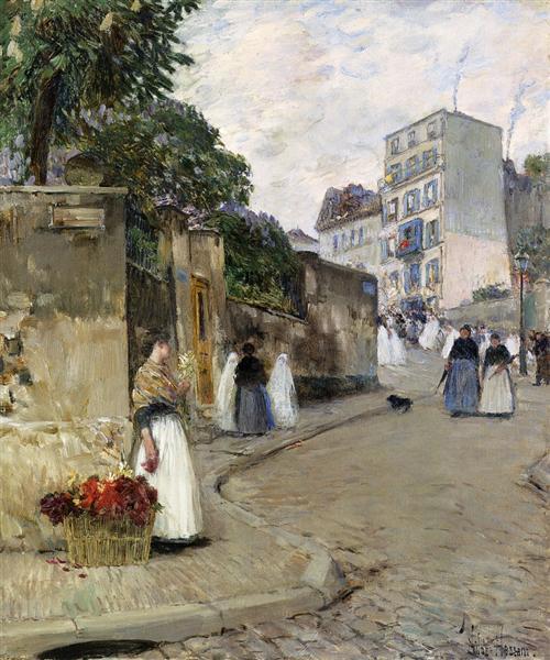 Rue Montmartre, Paris, 1888 - Childe Hassam