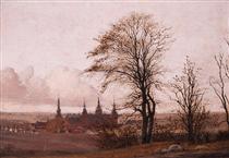 Autumn Landscape, Frederiksborg Castle in the Middle Distance - Christen Købke