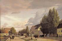 View of a Street in Østerbro outside Copenhagen. Morning Light - Christen Købke